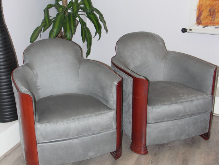 Complete refection of Pair of Designer Armchairs - Fabric editor Designers Guild