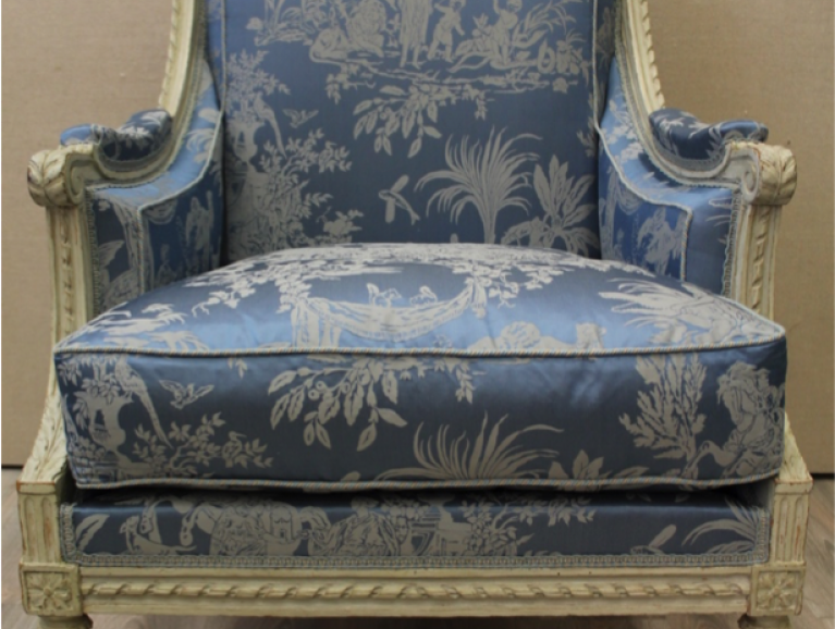 Complete refection of a Louis XVI armchair - Braquenié editor fabric with laced finish