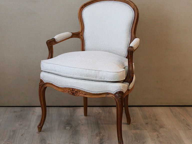 Refection a Louis XV Cabriolet Cushion Chair - Osborne & Little -White Ivory Editor Fabric with Laced Finish