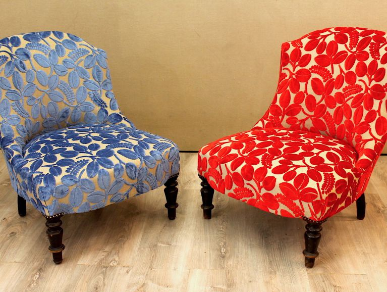 Complete réfection a pair of Napoleon III fireside chairs - Fabric editor Designers Guild